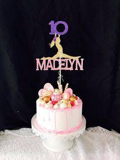 Gymnastics Cake Toppers, Gymnastics Birthday Cakes, 13 Birthday Cake, Gymnastics Party, 10th Birthday, Girl Birthday, Cheerleading Cake, Glitter Cake, Glitter Cardstock