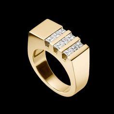 """Devotion Diamond Ring"" - 14-karat yellow gold and diamond ring with nine princess cut diamonds, 0.90 total carat weight."
