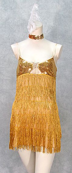 1920s GOLD FLAPPER DRESS COSTUME THEATRE DANCE GATSBY