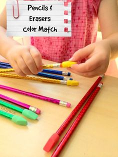 Pencils + Erasers Color Match - A Super Simple 2 Ingredient Fine Motor Skills Activity Fine Motor Activities For Kids, Motor Skills Activities, Color Activities, Hands On Activities, Fine Motor Skills, Toddler Activities, Play Based Learning, Toddler Learning, Toddler Preschool