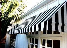 Navy and White Window Awning