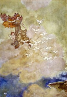xineann:  Venus in her airy chariot, Edmund Dulac