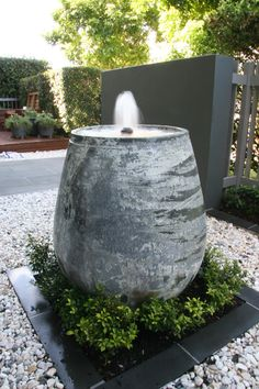 Water garden fountain using pottery water pots for Pot water feature ideas