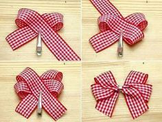 Bows :) gonna have to try this out ! More How to make felt flowers Ribbon Hair Bows, Diy Hair Bows, Diy Ribbon, Ribbon Crafts, Burlap Hair Bows, Diy Crafts, Christmas Bows, Christmas Crafts, Hair Bow Tutorial