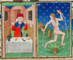 Detail of the miniatures for feasting and the zodiac sign Aquarius, from the calendar page for January, Add MS 18850, f. 1r - See more at: http://britishlibrary.typepad.co.uk/digitisedmanuscripts/2016/01/a-calendar-page-for-january-2016.html#sthash.lC7TUnoC.dpuf