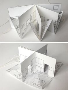 »Paper House small illustrated pop-up book 3/16 scale by pipsawa«  #paper #craft #popup