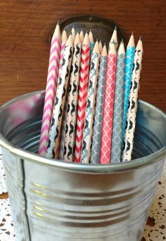 Washi Tape Pencils-Dress up those plain yellow pencils with patterned washi tape. #supplies