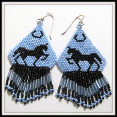 Silhouette Horse Earrings Beadwoven Beaded Sterling Earwires. $25.00, via Etsy.