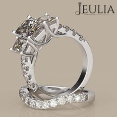 360 View of Three-stone Emerald Cut White Sapphire Rhodium Plated Sterling Silver Women's Engagement Ring