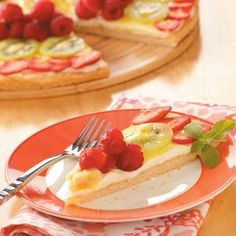 Fresh Fruit Pizza Recipe -This delicious recipe allows you to make use of the fresh fruits available during the summer, even as far north as Wisconsin! This is nice to serve to company because it's very colorful, and it's a good complement to brunch. —Doris Sather, Strum, Wisconsin