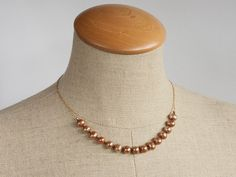 Soft golden pearl necklace by FirepanJewellery on Etsy STBrevitup86 stbtetsy