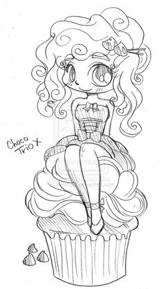 Anime Coloring Food Luxury Choco Trio Cupcake Girl by Yampuff On Deviantart Best Anime Manga Kawaii Chibi Coloring Pages, Coloring Pages For Girls, Colouring Pages, Coloring Books, Chibi Neko, Anime Chibi, Cute Drawings, Animal Drawings, Patch Aplique