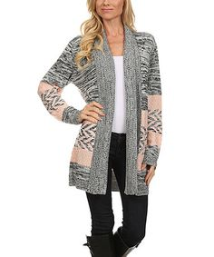 Another great find on #zulily! Gray & Pink Chevron Cowl Neck Open Cardigan #zulilyfinds