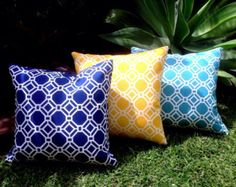 Navy Outdoor Cushions, Yellow Outdoor Pillows Turquoise Outdoor Modern Octo Decorative Scatter Cushions Modern Retro Pillows