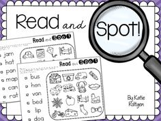 Read and Spot - These fun pages will provide your students practice with reading simple words. Students will read a word and then find the picture of that word hidden in a large group of pictures. There are 20 pages, which include medial vowels and all vowel sounds - with mostly a CVC focus. Great for literacy centers or stations, Daily 5, morning work, daily spiral review, and more. Great for Kindergarten or early first grade classroom or homeschool students.