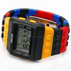 NEW Shhors Rainbow Rubber LCD Digital Alarm MEN'S Ladies Black Case Sport Watch | eBay $9