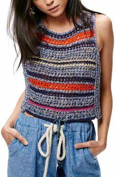 Free People Step Outside Crochet Tank Crochet Bodycon Dresses, Black Crochet Dress, Crochet Shirt, Knit Crochet, Crochet Stitches, Crochet Patterns, Free People, Nordstrom, Crochet Woman