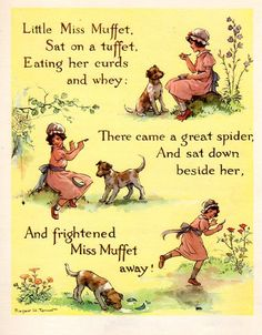 Little Miss Muffet . Margaret Winifred Tarrant – 29 July was an English illustrator specializing in depictions of fairy-like children and religious subjects. She was known for her children's books, postcards, calendars, and print reproductions. Nursery Rhymes Lyrics, Old Nursery Rhymes, Nursery Rhymes Preschool, Preschool Songs, Nursery Songs, Retro Kids, Nursery Rymes, Pomes, Rhymes Songs