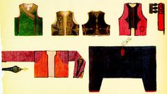 "BALKAN PENINSULA.  Under-jacket and vest types from western Balkans. ""Djamadan"", sleeveless cloth vest worn overlapping the chest. Asiatic form. (Cf. Pls. 94 and 103). ""Mintan"", under-jacket with sleeves; always of striped material; worn under djamadan. Herzegovina. Vest with straight slit and black silk cord edging from Albania (cf. Pl. 38). Sleeveless over-jacket, cloth, with gold and silver thread edging. Worn over the djamadan. Herzegovina."