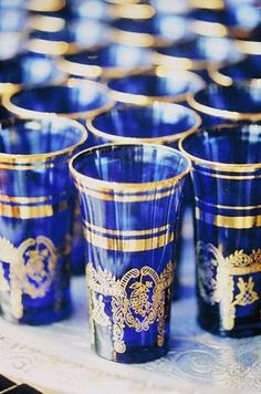 Blue Moroccan Tea Glasses #morocco #moroccan #blue #tea #glasses #design #art #culture