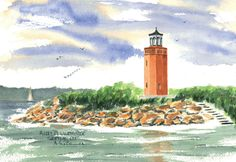 Avery Point Light, Groton Watercolor prints and note cards of over 250 lighthouses all over the USA.  Start your collection today. Original paintings by sailor/artist  Alfred La Banca, Darien, CT