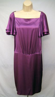BANANA REPUBLIC Purple Silk Shift Dress Butterfly Sleeves Women's Size 10 #BananaRepublic #Shift #Casual