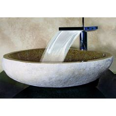 Shop Yosemite Home Decor Stone Products Natural Sand Stone Vessel Round Bathroom Sink at Lowes.com/find this faucet