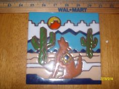 "VTG 6""X6"" Earthtones Tile Trivet BRIGHT Wall ART THE SERENADING COYOTES # 4722A"