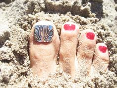 Toe Nail Art, Toe Ring, Statement, Temporary Art, Fake Finger Nail, Statement Jewelry, 3D Nail