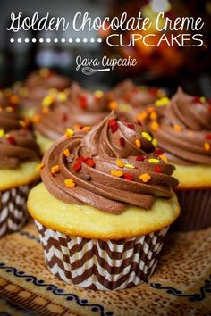 Golden Chocolate Creme Cupcakes inspired by the OREO with the same name! | JavaCupcake.com