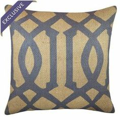 "Trellis-print burlap throw pillow. Designed exclusively for Joss & Main and handmade in the USA by TheWatsonShop.   Product: PillowConstruction Material: Burlap coverColor: Beige and blueFeatures:  Insert includedHandmade by TheWatsonShopZipper enclosure Made in the USA Dimensions: 16"" x 16""Cleaning and Care: Spot clean only"