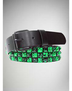 Studded Green Splatter Checker Belt