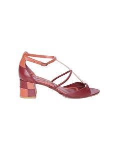 Sandália Thana Canyon Cris Barros laranja e vermelha com tiras e salto quadriculado orange red graphic sandals