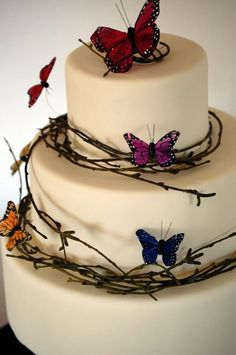 autumn wedding cake...maybe replace the butterflies with leaves and acorns