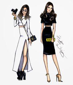 #Hayden Williams Fashion Illustrations #Kylie  Kendall by Hayden Williams