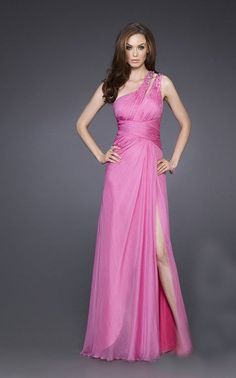 One Shoulder Pink Night Long Dress