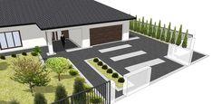 Creative Landscape, Landscape Design, Garden Design, Outside Flooring, Glam House, Architectural Design House Plans, Driveway Design, Front Gardens, Small House Design
