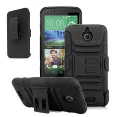 HTC DESIRE 510 CASE, HYBRID BELT CLIP HOLSTER COMBO COVER (BLACK) | #cellphonegadgets #mobileaccessories www.kuteckusa.com