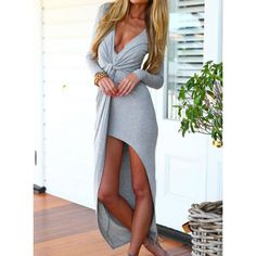 GearCloset.net - Sexy Long Sleeve Plunging Neck Solid Color Asymmetrical Hem Women s Dress
