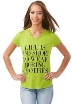 ec1ddc593 Cato Fashions Life Is Too Short V-Neck Tee-Plus #CatoFashions Casual Tops