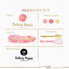 Baking Branding Kit , Baking Logo , Branding Package , Pink and Gold , Whisk…