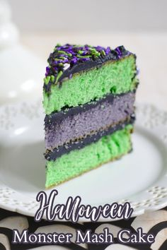 Halloween Monster Mash Cake – A fun Halloween cake perfect for a party! Green and purple layers of vanilla cake topped with black buttercream frosting. Halloween Cake | Halloween Dessert | Halloween Recipe