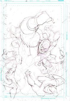 Justice League page prelim by Jim Lee