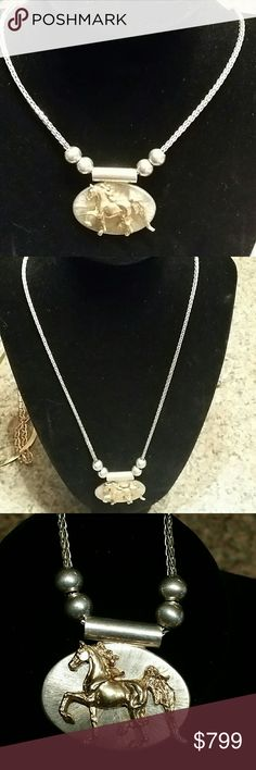 """Horse pendant in Sterling and 10K! 20"""" Stunning horse pendant! The horse itself is solid 10k gold and is positioned atop a solid sterling silver slide pendant. There are four sterling silver balls that slide along the 20 in wheat chain.  This is approximately 39.8 grams! Serious offers only please. This will go through Posh concierge service.  Stamped 925 and 10k  Downsizing My Personal Collection. All items are pre-loved! Jewelry Necklaces"""