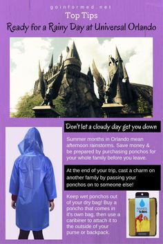 Summer weather in Orlando means afternoon rain. Bring a poncho and be ready for your trip to Universal Orlando and the Wizarding World of Harry Potter. {Affiliate}