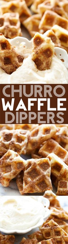 Churro Waffle Dippers... These taste just like a churro, but are a fraction of the work! They are such a delicious and unique treat! They literally whip up in 5 minutes and are so fun for serving to a crowd! No one will ever guess what they are made out of!