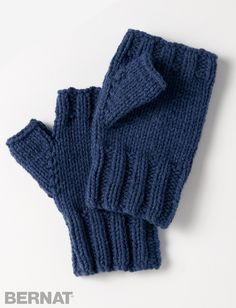 Yarnspirations.com - Bernat Fingerless Gloves - Patterns  | Yarnspirations | knit | Free pattern