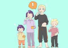 Himawari, Hinata, Naruto and Boruto, by Sakuraba Chizuru Naruhina, Hinata Hyuga, Neji E Tenten, Naruto Shippuden Sasuke, Naruto Gaiden, Uzumaki Family, Naruto Family, Anime Family, Boruto Naruto Next Generations