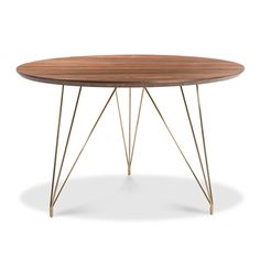 The Thayer Dining Table offers simple midcentury style for all of your dinner party needs. Features natural walnut wood and a polished gold base.Dimensions: 47