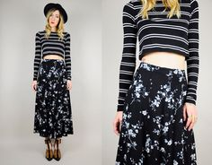 REVIVAL 90's Cherry Blossom floral HIGH WAIST Skirt Ditzy Grunge tight Midi Rose xs / small